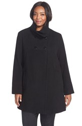 Plus Size Women's Larry Levine Wool Blend A Line Babydoll Coat Black