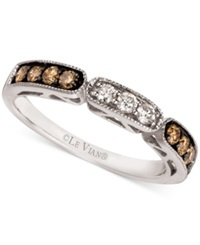 Le Vian Chocolate And White Diamond Band In 14K White Gold 3 8 Ct. T.W. No Color