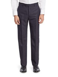 Emporio Armani Navy Chevron Wool Trousers
