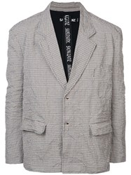 Sankuanz Checked Button Blazer White