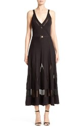 Versace Women's Collection Sheer Inset Knit Midi Dress