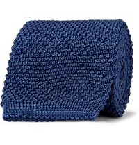 Anderson And Sheppard 6Cm Knitted Silk Tie Blue