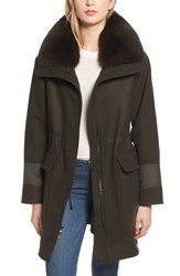 Trina Turk Whitney Genuine Fox Fur Trim Coat Olive