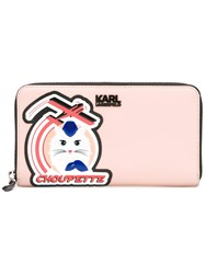 Karl Lagerfeld Choupette Patch Zipped Wallet Nude Neutrals