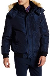 Andrew Marc New York Knox Faux Fur Trimmed Bomber Jacket Blue