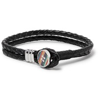 Paul Smith Woven Leather And Enamelled Silver Tone Bracelet Black