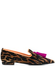 Pretty Ballerinas Leopard Print Pointed Loafers Brown