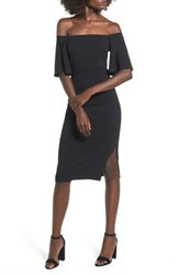 Soprano Women's Off The Shoulder Ponte Body Con Dress Black
