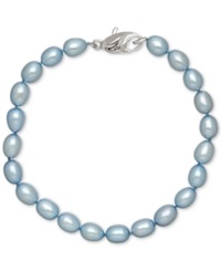 Honora Style Sky Blue Cultured Freshwater Pearl Bracelet In Sterling Silver 7 8Mm