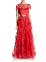Teri Jon Lace Sleeve Organza Gown Red