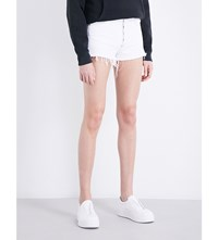 Agolde Jaden Frayed Hem Denim Shorts White Space