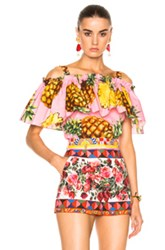 Dolce And Gabbana Off The Shoulder Blouse In Abstract Green Pink Yellow Abstract Green Pink Yellow