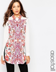 Asos Tall Longsleeve Placement Print Blouse Whitered