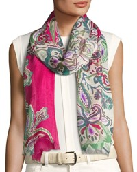 Loro Piana Haveli Paisley Cashmere And Silk Stole Red Pink