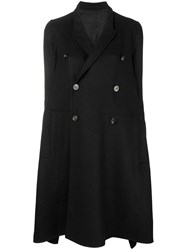 Rick Owens Flared Double Breasted Coat Black