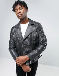 Asos Leather Biker Jacket With Quilting In Black Black