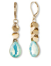 Lonna And Lilly Goldtone And Soft Aqua Crystal Drop Earrings