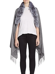 Saks Fifth Avenue Fox Fur Fringe Wrap Grey