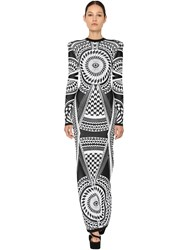 Balmain Fitted Jacquard Knit Long Dress Black