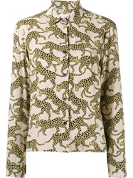 Dries Van Noten Cakung Tiger Print Shirt Nude And Neutrals