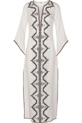 Talitha Embroidered Cotton Kaftan White