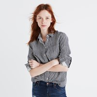 Madewell Flannel Shrunken Ex Boyfriend Shirt In Stripe Hand Night Vision