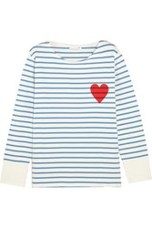 Chinti And Parker Printed Striped Cotton Jersey Top Midnight Blue