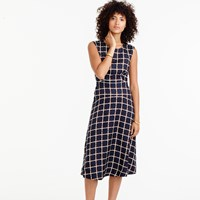 J.Crew A Line Dress In Silk Twill Windowpane Print