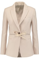 Brunello Cucinelli Belted Wool And Cashmere Blend Felt Jacket Beige
