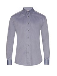 Brioni Button Down Collar Cotton Shirt Grey