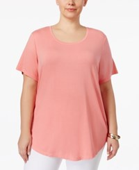 Jm Collection Plus Size Short Sleeve Top Only At Macy's Coral Shell