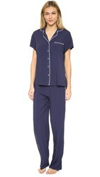 Splendid Paradise Splash Piped Pj Set Navy Iris