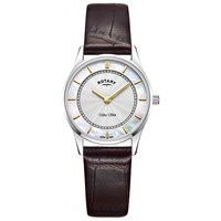 Rotary Ls08300 02 'S Ultra Slim Leather Strap Watch Brown White