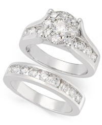 Prestige Unity Diamond Engagement Ring And Wedding Band Bridal Set In 14K White Gold 2 Ct. T.W.