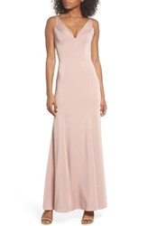 634e136906a Jenny Yoo  S Jade Luxe Crepe V Neck Gown Whipped Apricot