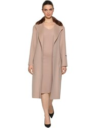 Marina Rinaldi Double Wool Coat W Mink Fur Collar Pink