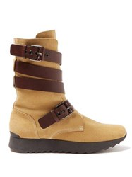Loewe Strappy Suede Boots Tan