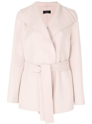 Joseph Short Belt Coat Women Cotton Cashmere Wool 42 Pink Purple