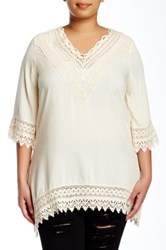 Forgotten Grace Crochet V Neck Tunic Plus Size White