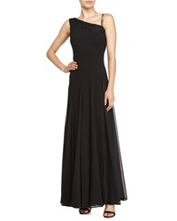 Halston One Shoulder Beaded Detail Gown Black