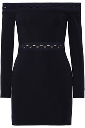 Dion Lee Off The Shoulder Cutout Stretch Ponte Mini Dress Black