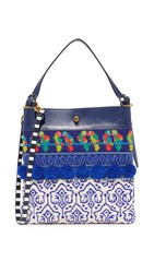 Tory Burch Beaded Parrot Tote Navy Sea