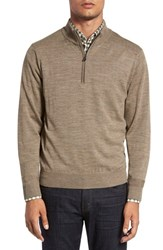 Cutter And Buck Men's Big Tall 'Douglas' Quarter Zip Wool Blend Sweater Twig Heather