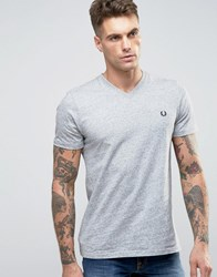 Fred Perry V Neck T Shirt In Grey Grey