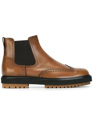 Tod's Brogue Detail Chelsea Boots Brown
