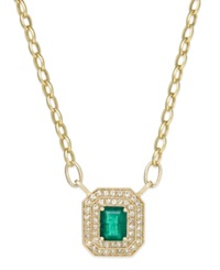 Effy Collection Brasilica By Effy Emerald 1 3 8 Ct. T.W. And Diamond 1 2 Ct. T.W. Pendant Necklace In 14K Gold Yellow Gold