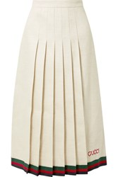 Gucci Pleated Embroidered Linen And Silk Blend Midi Skirt Ivory Gbp