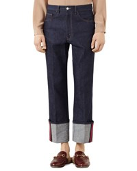 Gucci Dark Blue Jeans With Web