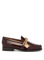 Givenchy Chain Embellished Leather Loafers Burgundy