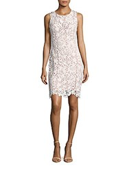 Calvin Klein Sleeveless Lace Dress White Nude